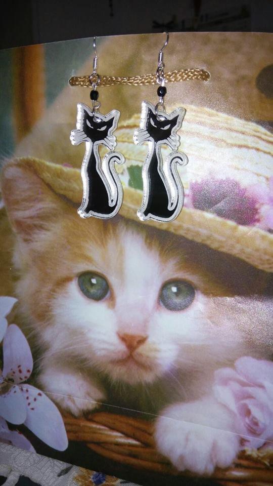 Orecchini  Gatto in plexiglass a specchio