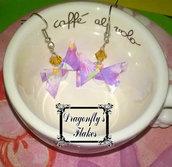 Orecchini origami farfalle, farfalla, carta, viola/lilla