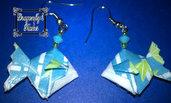 Orecchini origami, pesci, pescetti, azzurri, pesce