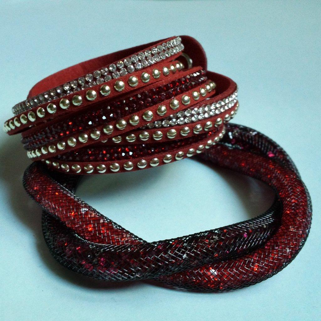 Bracciale intrecciato stardust rosso e bordeaux e bracciale slake rosso con strass