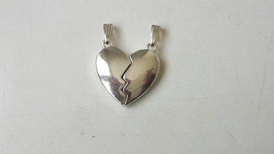 1 charm cuore divisibile in metallo argentato 25 x23mm circa