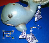 orecchini origami, pesce, pesci, carta