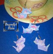 Orecchini origami gatto, azzurro, carta