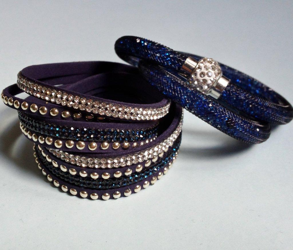 Bracciale stardust blu e bracciale slake blu con strass e borchie