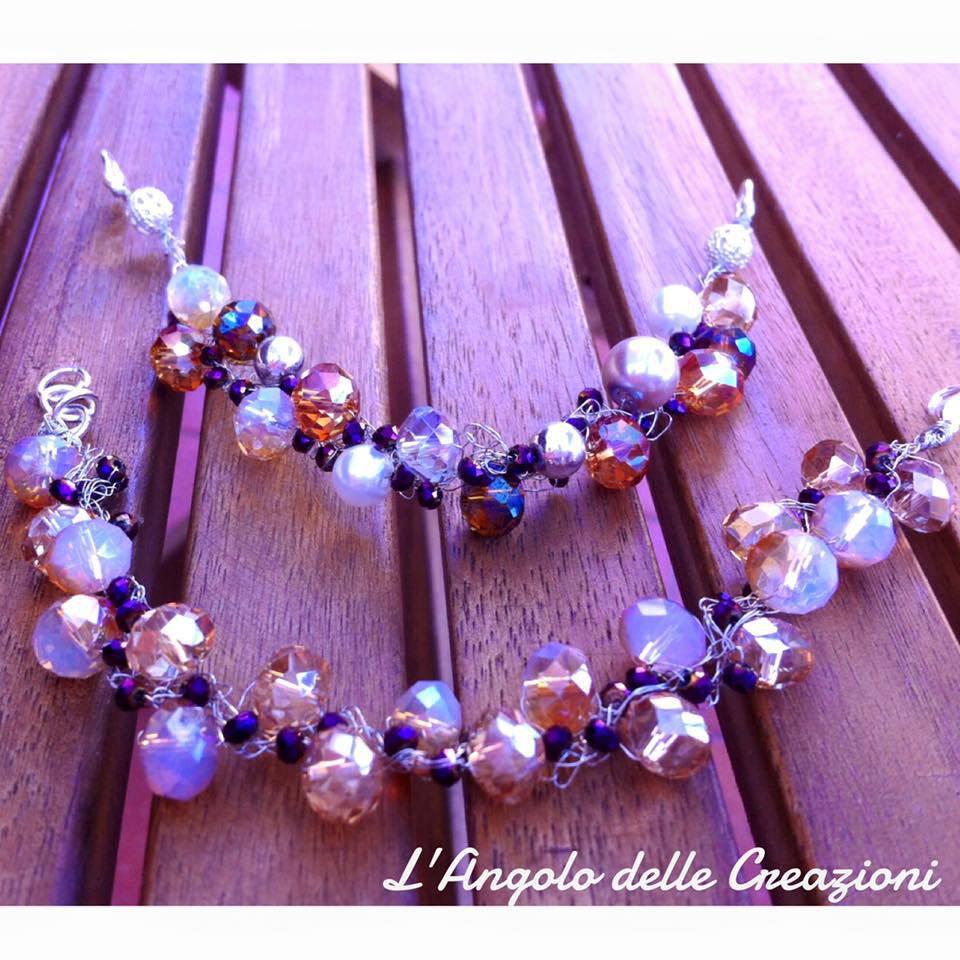 Bracciali fatti a mano con fili argento, cristalli, perline