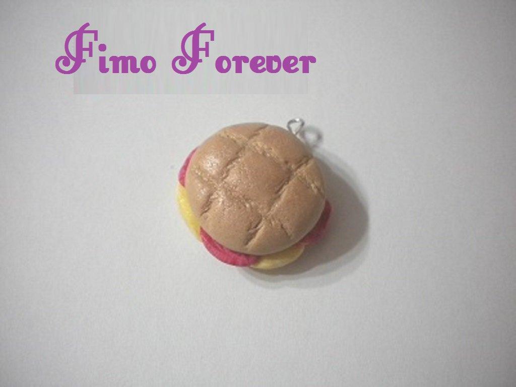 10 ciondolo in fimo panino farcito handmade