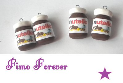 Lotto 4 ciondolo Nutella in fimo handmade