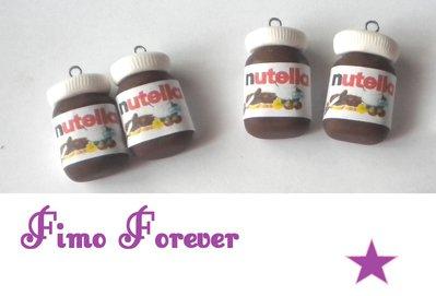 Lotto 4 ciondolo Nutella in fimo handmade