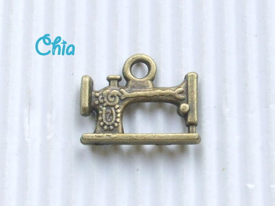 6 charms macchina da cucire  bronzo