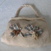 borsa ragazza fatta  a mano con orsetto e cuoricino