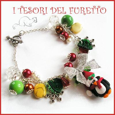 """Bracciale Natale 2015 """"Pinguino charm rosso verde oro"""" charm orsetto bijoux natalizi idea regalo economica bambina ragazza"""