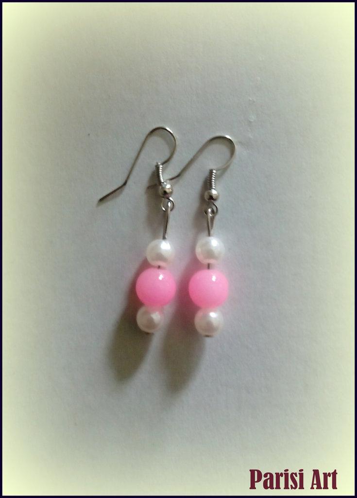 Orecchini pendenti con perle pink & white