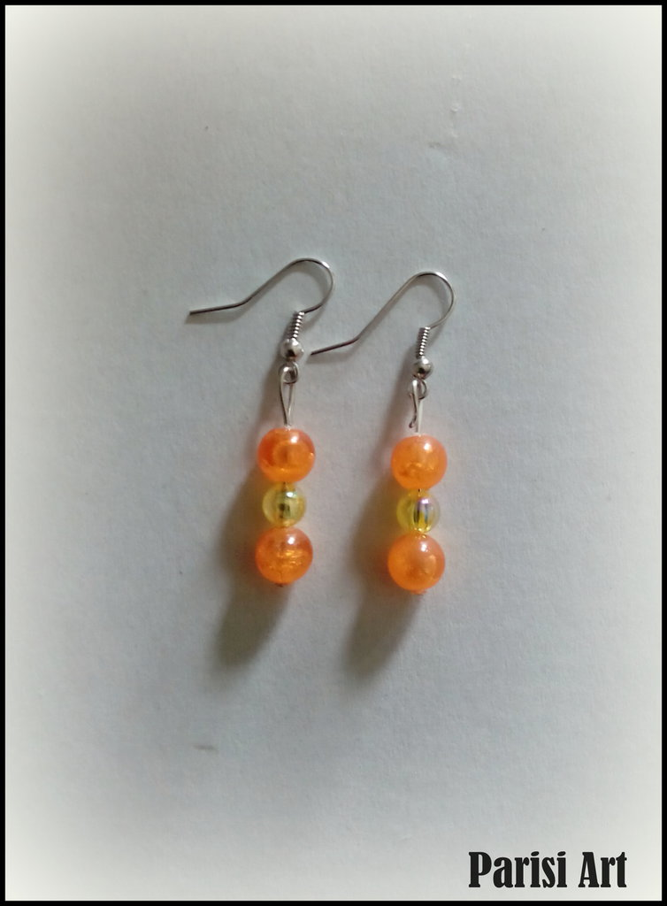 Orecchini pendenti con perle giallo & arancio