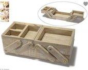 Scatola da cucito con 5 scomparti in legno naturale