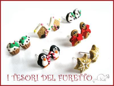 """Set 6 Paia  Orecchini Perno Natale """"Biscotti, donut, casetta marzapane, gingerbread, cupcake, pinguini"""" fimo cernit premo idea regalo bambina ragazza economica"""