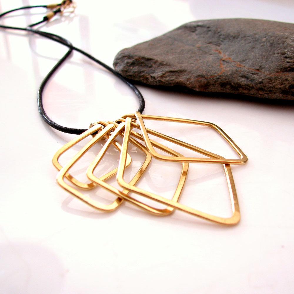 Collana ottone, collana metallo, geometria - FORME GEOMETRICHE