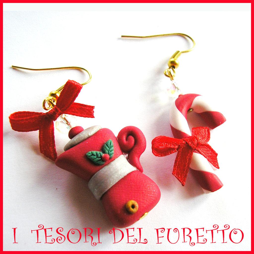 """Orecchini """"Fufumoka e bastoncino di zucchero"""" Natale 2015 fimo cernit premo idea regalo economica bijoux natalizi kawaii"""