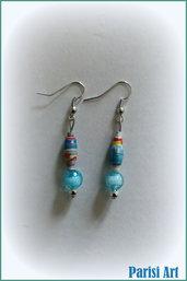 Orecchini pendenti in stile marino fatti a mano con perle e carta