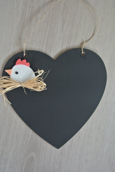 Lavagna cuore con gallina