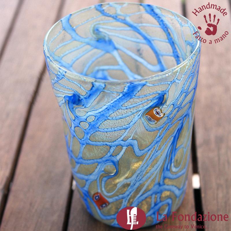 Goto Tornado blu in vetro di Murano fatto a mano