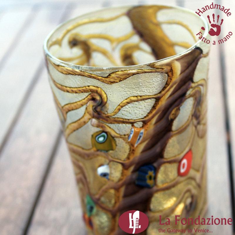 Goto Reticello Cioccolato in vetro di Murano fatto a mano