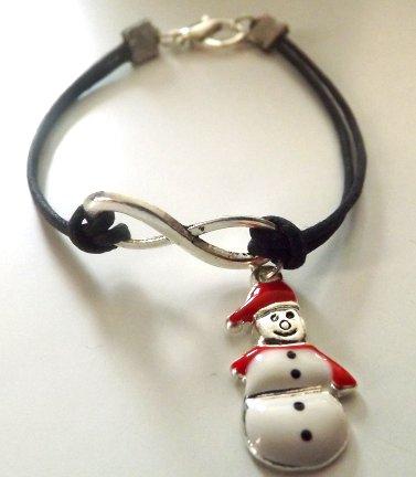 Bracciale con cordino nero e simbolo infinito in argento tibetano con ciondolo pupazzo di neve idea regalo Natale