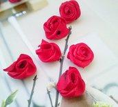 10 ROSELLINE ROSSE PER DECORAZIONI VARIE - HOBBY CREATIVI