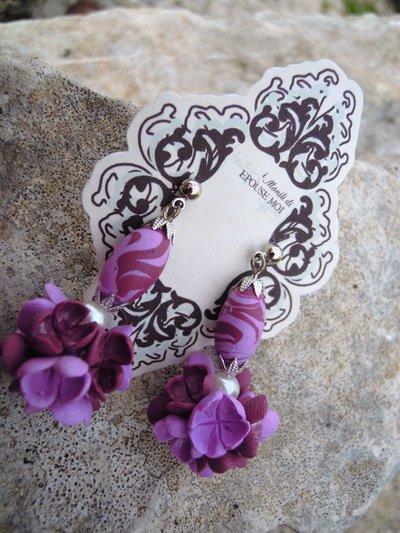 orecchini romantici lilla e viola