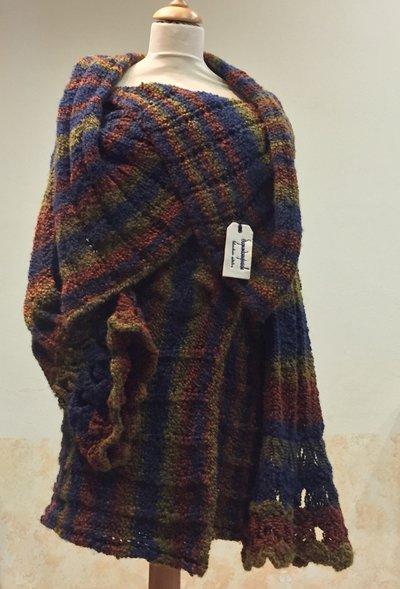 """Cappotto in lana bouclè """"effetto Missoni"""" taglia unica fatto a mano con trecce"""