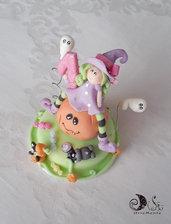 Cake topper streghetta halloween primo compleanno