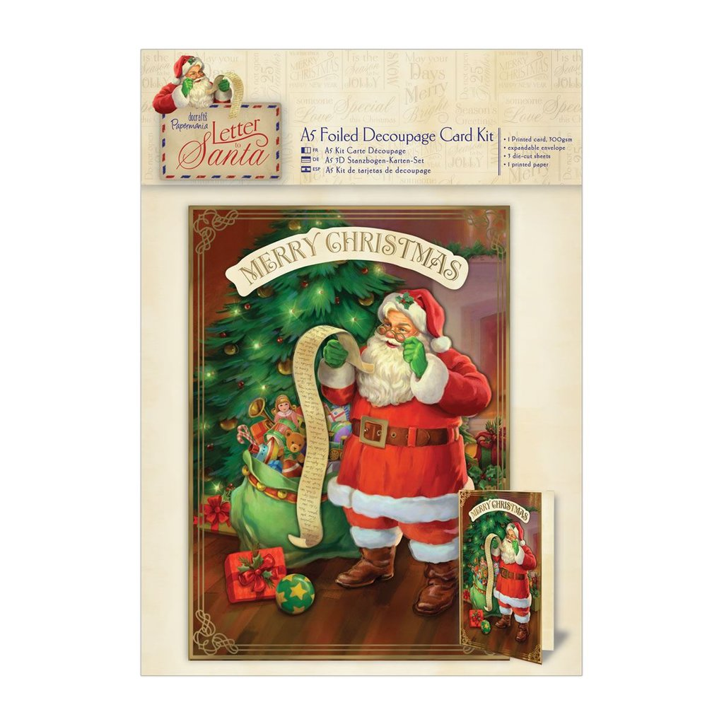 "A5 Decoupage Card Kit - Letter to Santa ""Santa's List"""