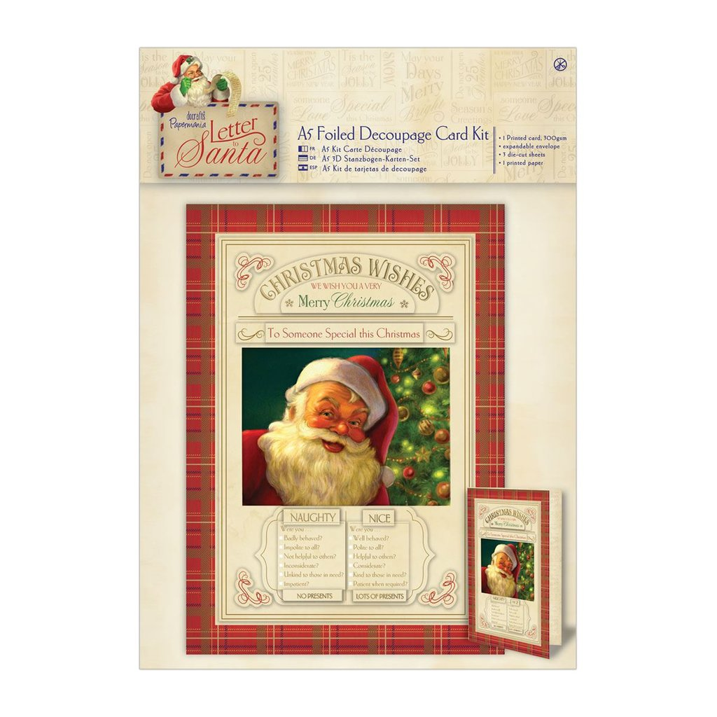 "A5 Decoupage Card Kit - Letter to Santa ""Naughty & Nice"""