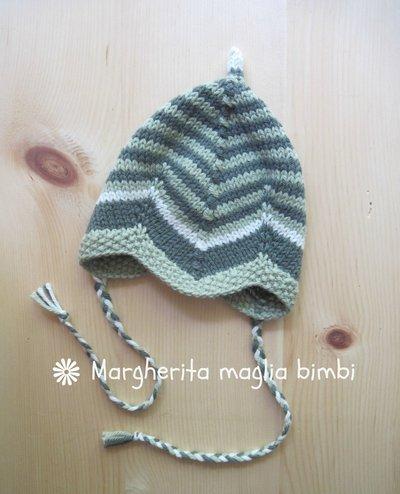 Berrettino cappellino neonato a righe verde bottiglia e pistacchio in pura lana e alpaca