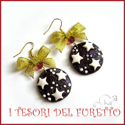 """Orecchini """"Pan di stelle Natalizi"""" Fiocchi oro Fimo cernit premo idea regalo Natale 2015 idea regalo per lei economica"""