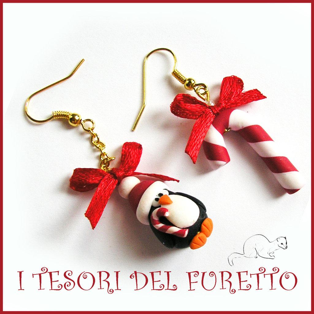 """Orecchini Natalizi """" Pinguino bastoncino zucchero  """" Natale 2015 fimo cernit premo idea regalo economica bijoux natalizi kawaii"""