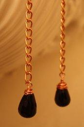 Black drops, orecchini onice nero