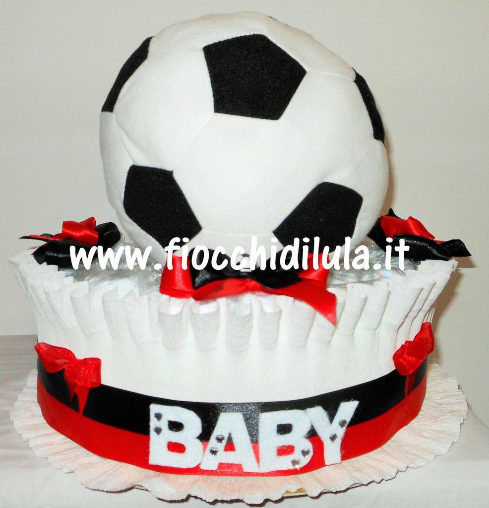 Torta di Pannolini Baby tifoso- idea regalo, originale ed utile, per nascite, battesimi e com...