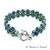 Bracciale a fascia con mezzi cristalli verde scuro iris e perline fatto a mano - Giacinto