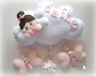fiocco nascita  nuvola con angioletto del cuore e pendenti personalizzabile
