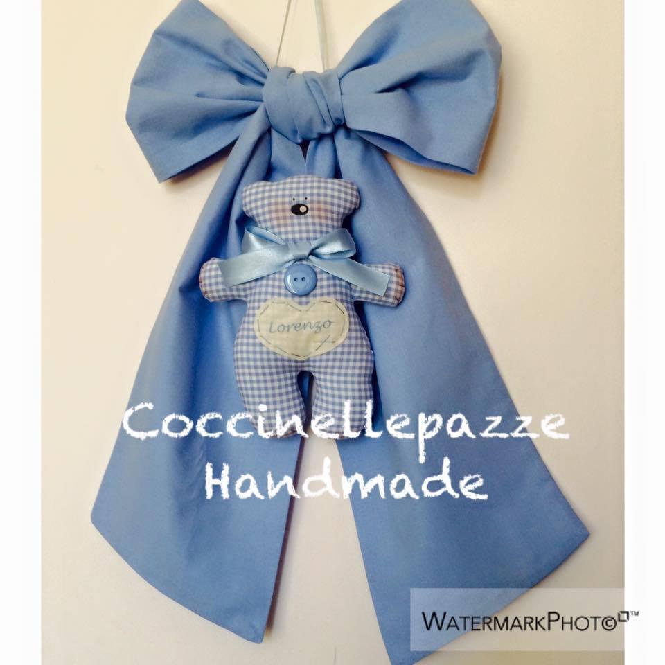 fiocco nascita con orsetto tilda su fiocco personalizzato, anche rosa o altri colori a richiesta