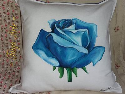 Cuscino con Rosa blu