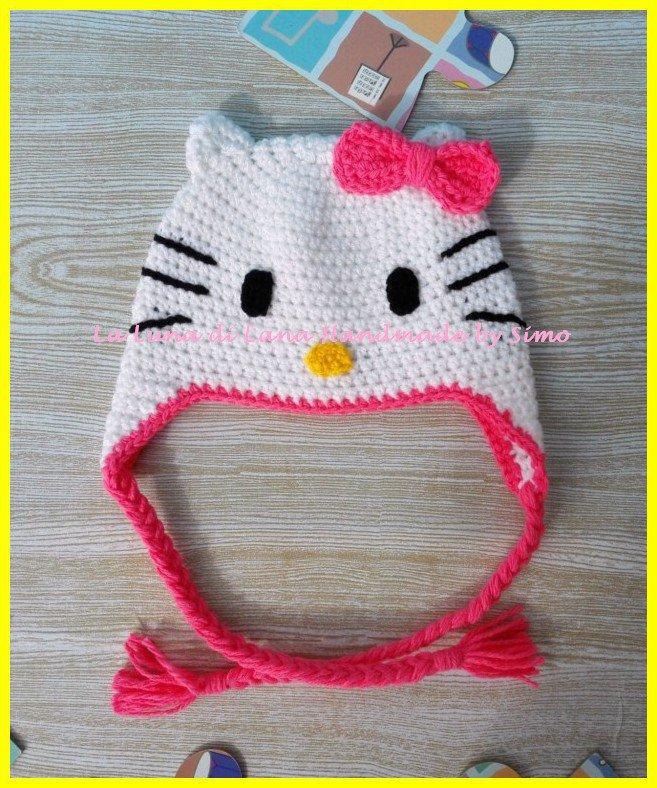 Cappello a uncinetto a forma di Hello Kitty per bambina - Bambin ... e8e8b299aecb