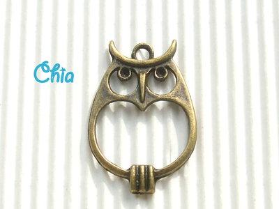 1 charm maxi gufo bronzo 34x23mm