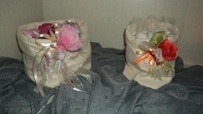 portaconfetti confettata, cestini stoffa per confetti personalizzabili