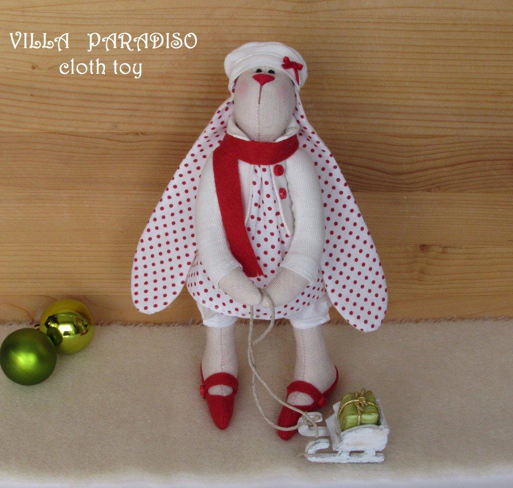 Coniglietta Natale, giocatolo in stoffa stile tilda, country, addobbi