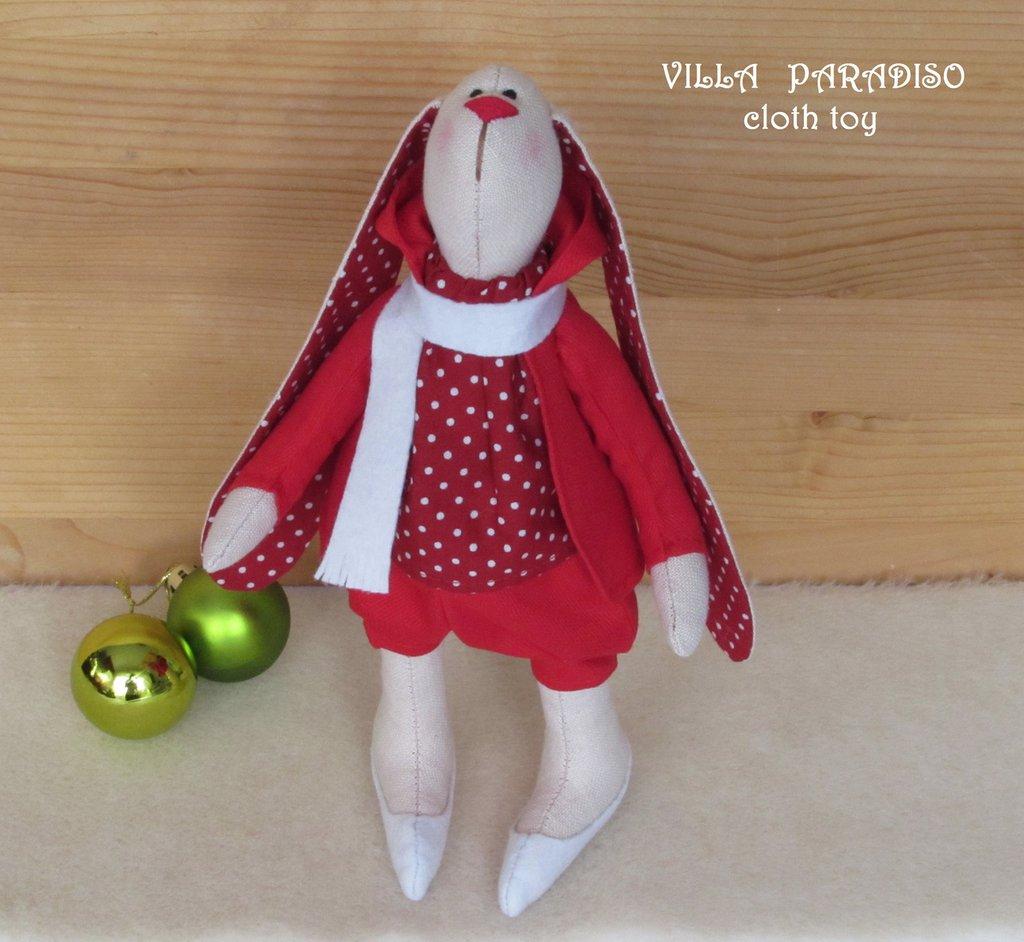 Coniglietto, pupazzo di Natale, giocatolo in stoffa, decorazione casa