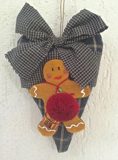 Natale - Cuore in stoffa con ginger