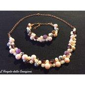 Collana e bracciale fatti a mano fili argento pietre dure cristalli e perle