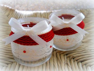Porta-candele con candele profumate set da 2
