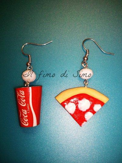 orecchini bibita con pizza